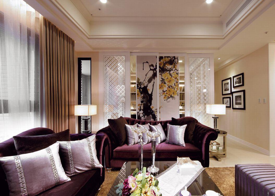 紫色浪漫唯美欧式客厅吊顶装修效果图片