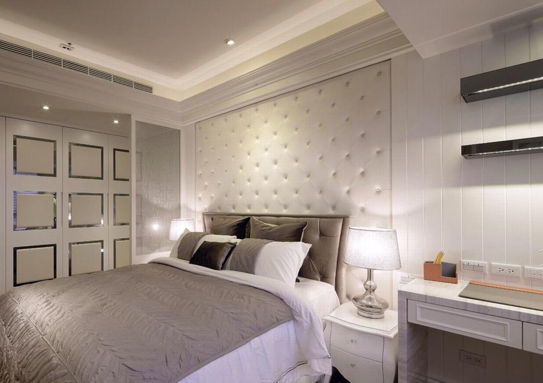 银色时尚简欧温馨卧室装潢设计