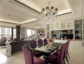 精致浪漫紫色欧式餐厅吊顶装潢案例