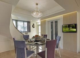 浪漫紫色简欧餐厅吊顶设计案例