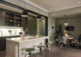 绿色摩登美式简约餐厅橱柜效果图欣赏