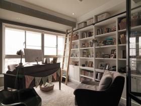 宜家风格白色清新书房装潢设计