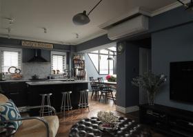 黑色质感现代风格餐厅吧台装饰图