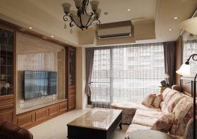 新古典风格质感原木色客厅背景墙装修设计