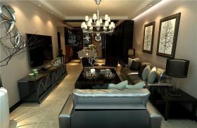 黑色欧式风格客厅吊顶装修图片