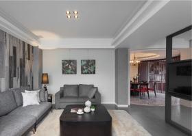 2016精致灰色简约客厅吊顶设计装潢