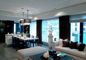 优雅简约风格蓝色客厅吊顶美图欣赏