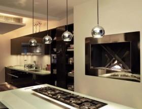 简约风格黑色餐厅橱柜效果图欣赏