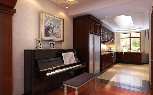 欧式风格红色琴房装潢案例