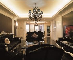 黑色欧式风格客厅吊顶设计图片