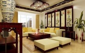 褐色中式风格客厅吊顶美图