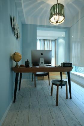 蓝色浪漫地中海风格书房装修设计美图