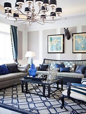 蓝色精致欧式风格客厅吊顶设计