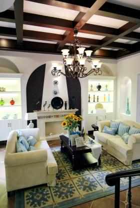 地中海风格米色客厅吊顶设计赏析