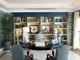 地中海风格蓝色书房效果图设计