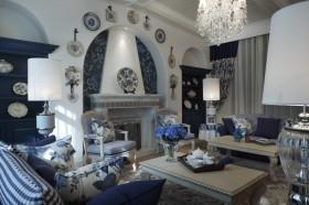灰色地中海风格客厅吊顶设计欣赏