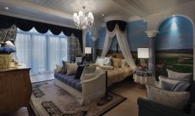 地中海风格蓝色浪漫卧室装修案例