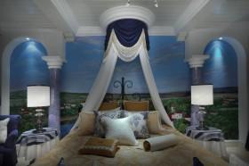 蓝色地中海风格卧室吊顶图片