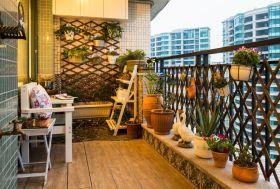 温馨自然欧式田园风格橙色阳台装修效果图