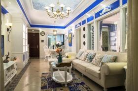 地中海清新客厅吊顶美图欣赏