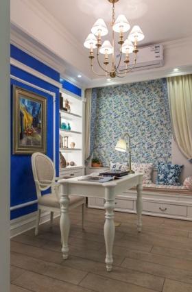浪漫蓝色简欧书房吊顶装饰设计图片