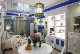 个性蓝色地中海风格餐厅装潢设计