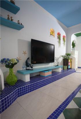 蓝色地中海客厅背景墙装潢