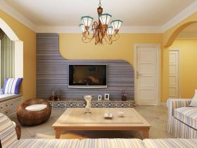 唯美温馨现代米黄色客厅装修
