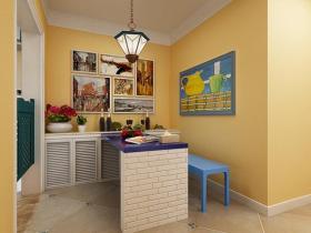 2016黄色地中海厨房吧台欣赏