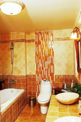 橙色东南亚风格卫生间效果图设计