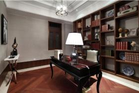 红色中式书房装修美图欣赏