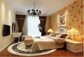 橙色田园风格卧室装修效果图片