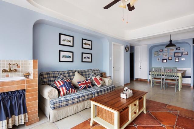英伦时尚田园风格蓝色客厅装修案例