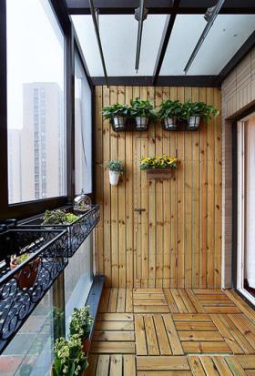 原木素雅美式阳台装修效果图片