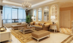 欧式风格橙色客厅吊顶效果图欣赏