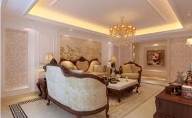 欧式风格黄色客厅吊顶装修效果图