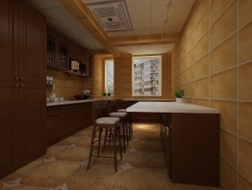 美式开放式厨房装潢案例