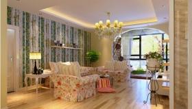 粉色田园风格客厅设计欣赏