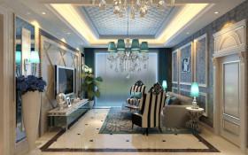 蓝色华丽时尚欧式客厅吊顶图片