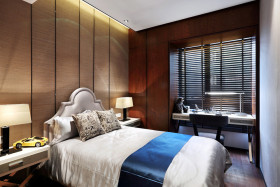 红色新中式风格卧室装修设计