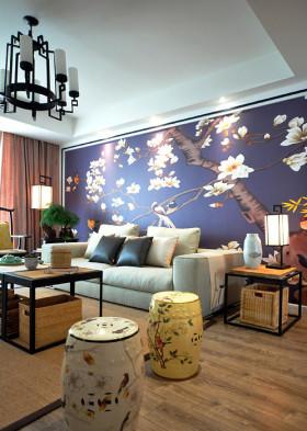 蓝色日式风格客厅背景墙装修图