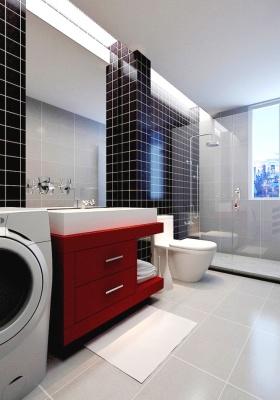 时尚现代红黑撞色卫生间美图欣赏
