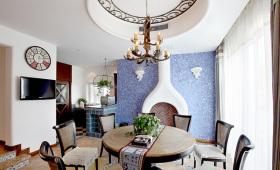 蓝色东南亚风格个性餐厅装修案例