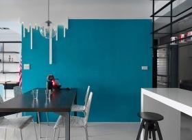 简约现代风格蓝色餐厅背景墙设计