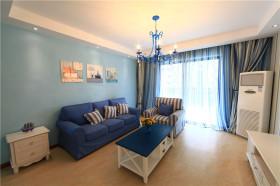 地中海风格蓝色客厅吊顶装修