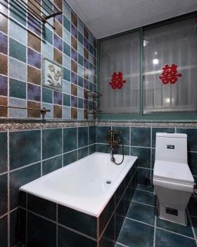 蓝色美式风格婚房卫生间美图
