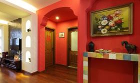 欧式风格热情红色玄关装修布置