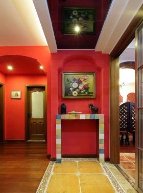 经典欧式风格红色背景墙美图欣赏