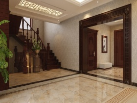 中式风格素雅米色玄关装修设计