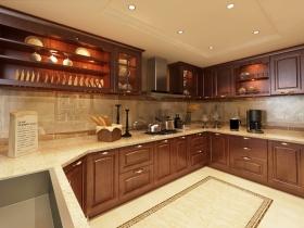 红色优雅新古典风格厨房橱柜装修设计